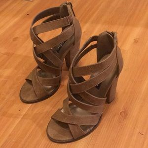 strappy brown high heels